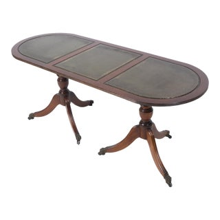 Mahogany Leather Top Cocktail Table For Sale