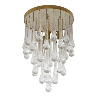 Mid Century Modern Brass & Murano Glass Drops Flush Mount Ceiling Light, Customizable For Sale