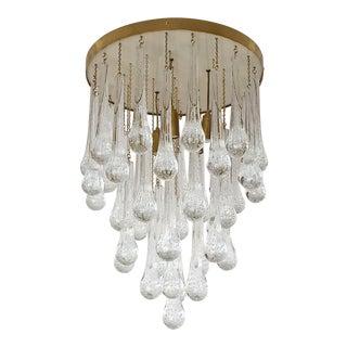 Mid Century Modern Brass & Murano Glass Drops Flush Mount Ceiling Light, Customizable For Sale
