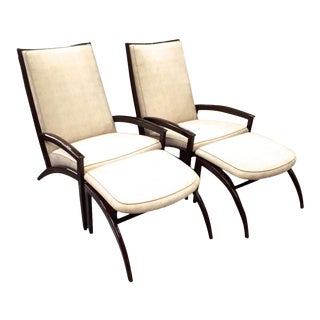 Adrian Pearsall Pair of Lounge Chairs and Ottoman Restored in Neutral Cloth