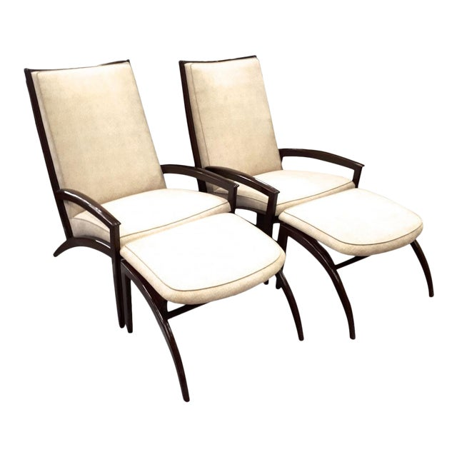 Adrian Pearsall Pair of Lounge Chairs and Ottoman Restored in Neutral Cloth For Sale