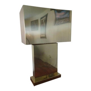 1970s Mid Century Modern Curtis Jere Minimalistic Sculptural Brass Table Lamp