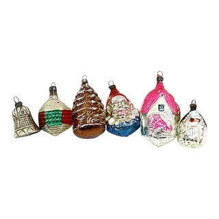 1920s Mercury Glass Ornaments, Set of 6 For Sale