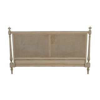 French Louis XVI Style Distressed Painted King Size Caned Headboard For Sale