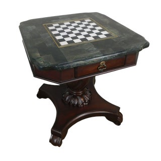 Victorian Revival Style 2 Drawer Cherry Marble Checkerboard Top Game Table For Sale