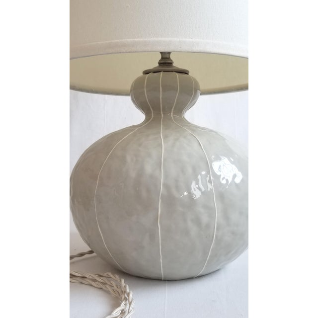 Contemporary Modern kRI kRI Studio Gray Ceramic Gourd Lamp For Sale - Image 3 of 4