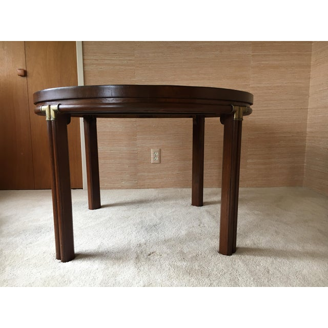 """Vintage Drexel Heritage Accolade campaign style custom 25 1/2"""" height table with 40"""" round pecan marquetry veneer wood top..."""