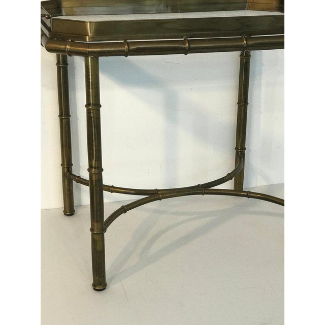 Mastercraft Faux Bois Campaign Style Patinated Brass Tray Table, by Mastercraft For Sale - Image 4 of 9