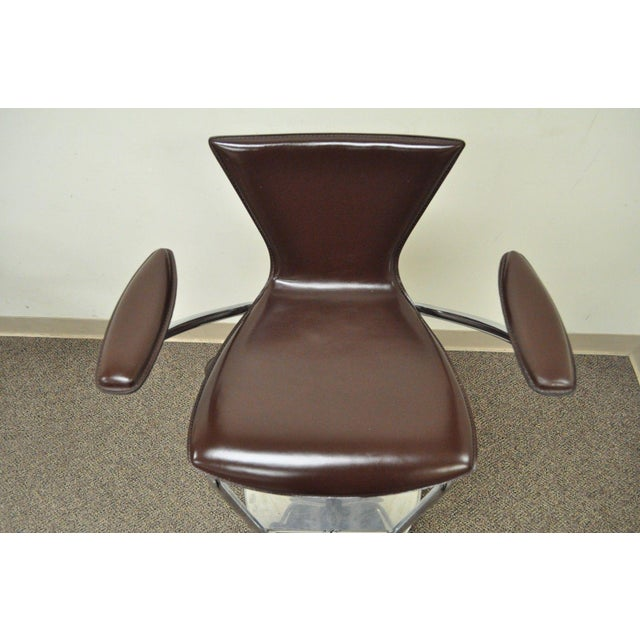 Early 21st Century Serico Contemporary Italian Modern Brown Leather Chrome Adjust Bar Stool Chair B For Sale - Image 5 of 11