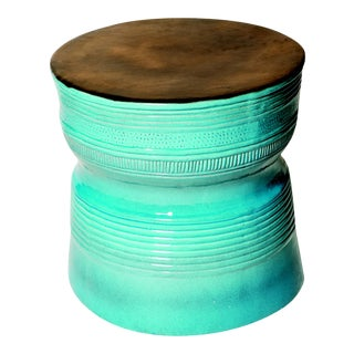 Ancaris Ring Handmade Glazed Ceramic Outdoor Accent Table, Turquoise For Sale
