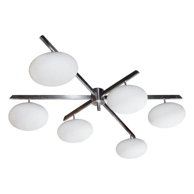 Satin Nickel Six-Arm Globe Flush Mount Chandelier For Sale - Image 11 of 11