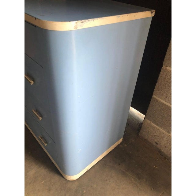 1930s Dresser Lowboy by Norman Bel Geddes for Simmons Circa 1930s, Baby Blue and White For Sale - Image 5 of 12