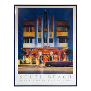 Vintage South Beach Watercolors Framed Poster Signed by the Artist Mark Rutkowski For Sale