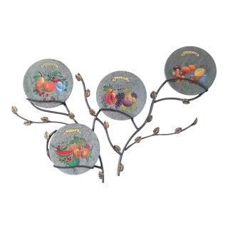 Italy, 4 Seasons Wall Discs, Handmade Wrought Iron, Tree of Life, Hand Painted Lava Granite For Sale