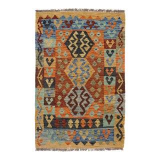 Afghan Kilim Handspun Wool Rug - 3′2″ × 4′9″ For Sale