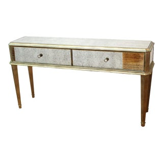Hollywood Regency Modern Mirrored Console With Drawers For Sale