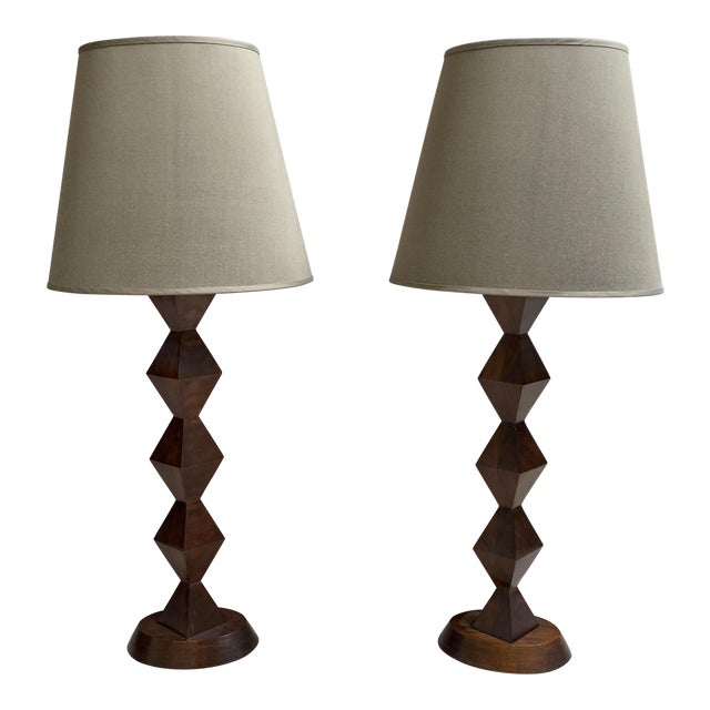 Stephen McKay Geometric Walnut Custom Table Lamps with Shades - a Pair For Sale