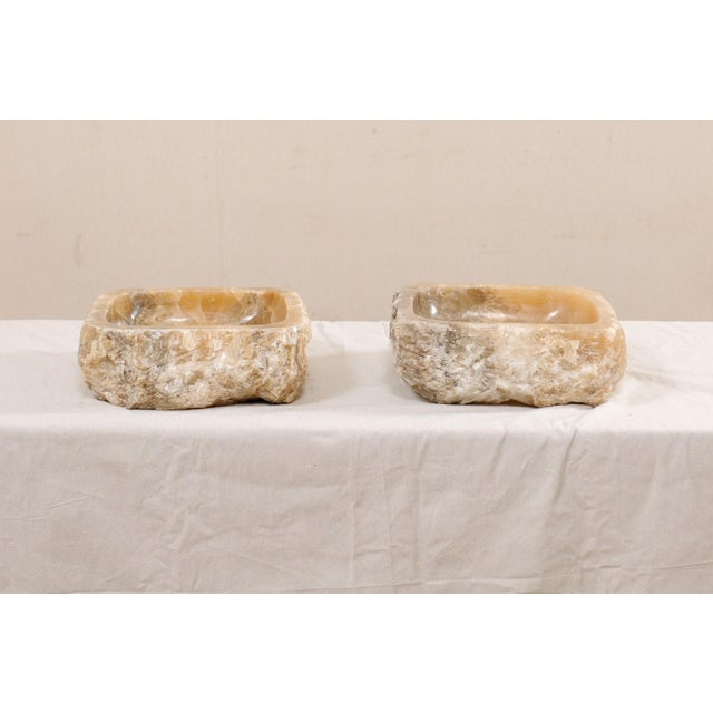 Pair of Natural Onyx Sink Basins For Sale - Image 10 of 12