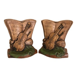 Mid Century Painted Chalkware Music Composition & Instrument Bookends - a Pair For Sale