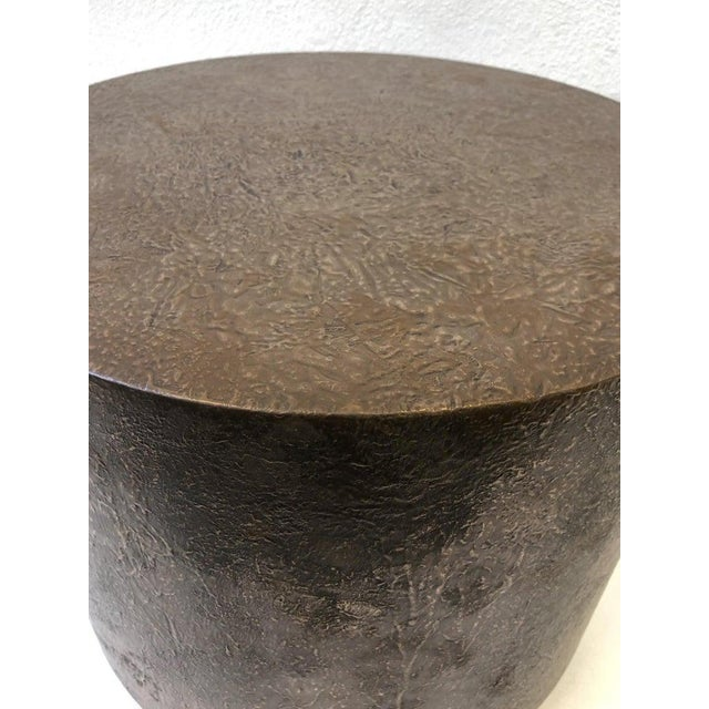 Steve Chase Bronze and Polish Stainless Steel Drum Side Table by Steve Chase For Sale - Image 4 of 8