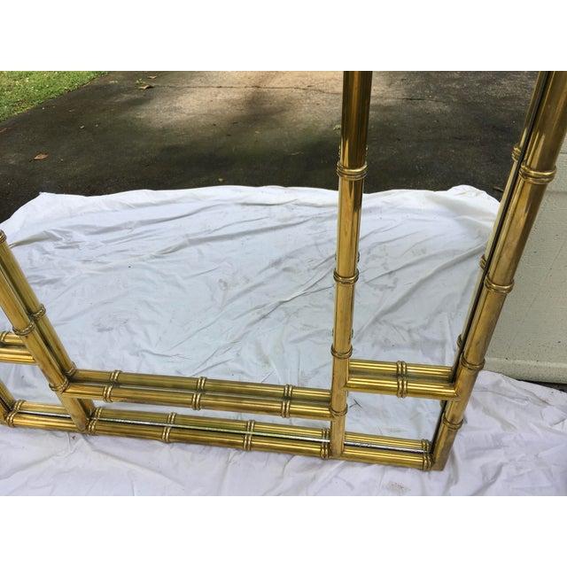 Hollywood Regency Mastercraft Brass Faux Bamboo Mirror W/Greek Key For Sale - Image 3 of 10