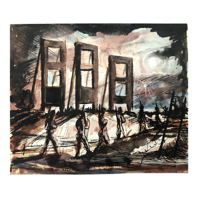 Mid-Century Modern Painting by William Palmer, 1944 For Sale