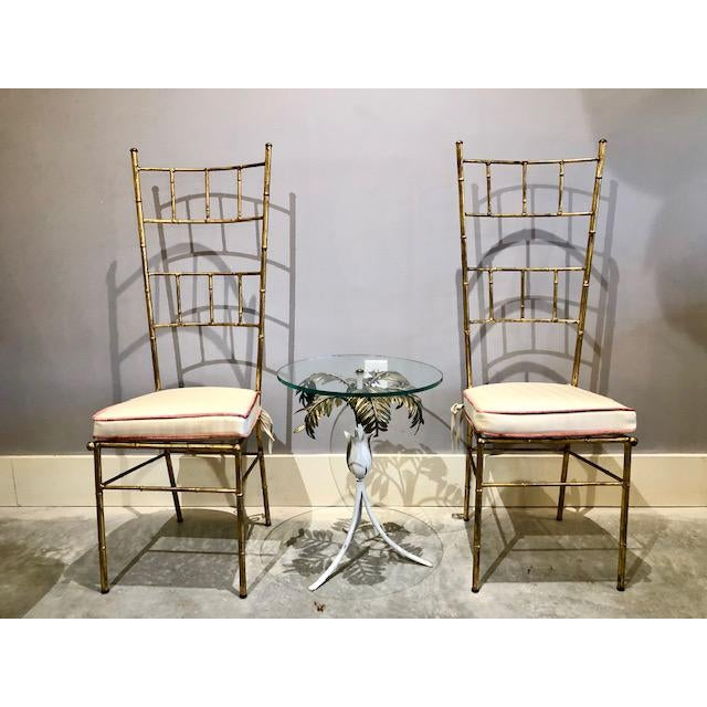 1970s Vintage Bagues Style Italian Gilt Iron High-Back Chairs- A Pair For Sale - Image 10 of 12
