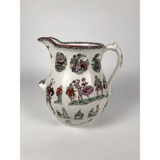 Blue Giant 19th Century Staffordshire Pottery Harlequin Pitcher For Sale - Image 8 of 13