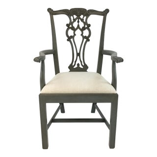 Hickory Chair Venetian Blue Chippendale Arm Chair For Sale