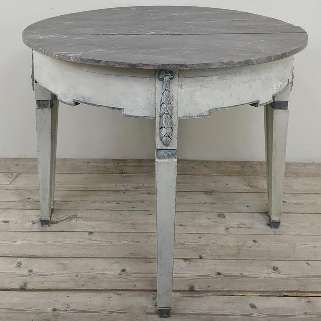 Gustavian (Swedish) Pair 19th Century Swedish Painted Demilune Consoles For Sale - Image 3 of 13