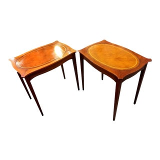 Edwardian Rectangular Side Tables With Leather Inlaid Tops - a Pair For Sale