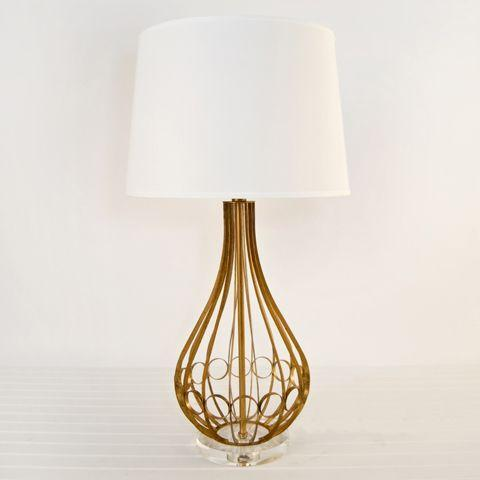 2010s Contemporary Worlds Away Westin Lamp in Gold Leaf With Acrylic Base For Sale - Image 5 of 5