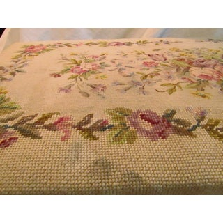 Antique Floral Needlepoint Top Piano Bench With Sheet Music Storage Preview
