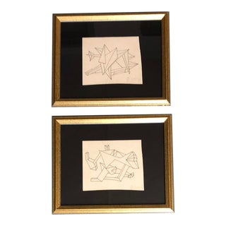 Gallery Wall Collection 2 Original Vintage Abstract Robert Cooke Ink Drawings For Sale