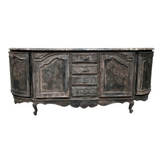 Long Antique French Louis XVI Marble Top Distressed Dark Charcoal Sideboard For Sale