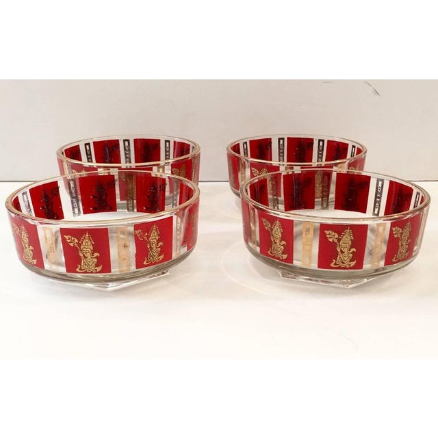 "Culver Mid-Century Red & 22k Gold ""Thai Goddess"" Drinks - Set of 9 - Image 3 of 8"