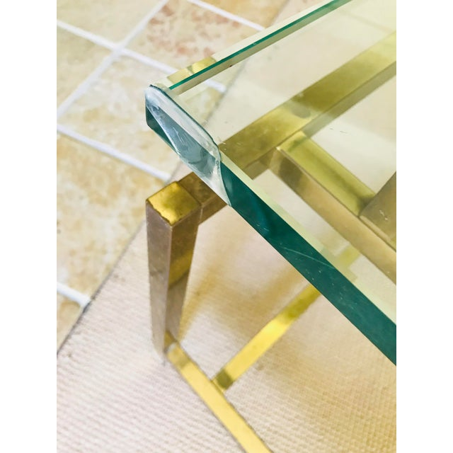 Mid Century Coffee Table Brass and Glass Floating For Sale - Image 9 of 10