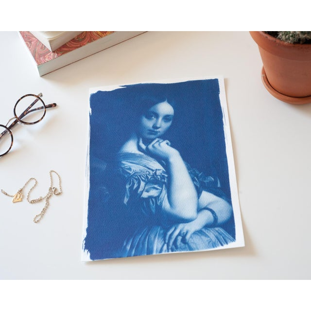 Ingres, Portrait of a Young Girl, Handmade Cyanotype on Watercolor Paper, Limited Serie, A4 For Sale In Miami - Image 6 of 7
