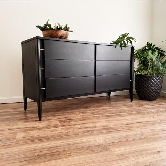 Wood Mid Century Modern Matte Black Dresser For Sale - Image 7 of 10