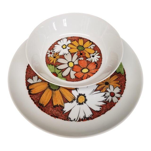 Modern 1960s Noritake Culebra Pattern Round Serving Platter & Serving Bowl - A Pair For Sale