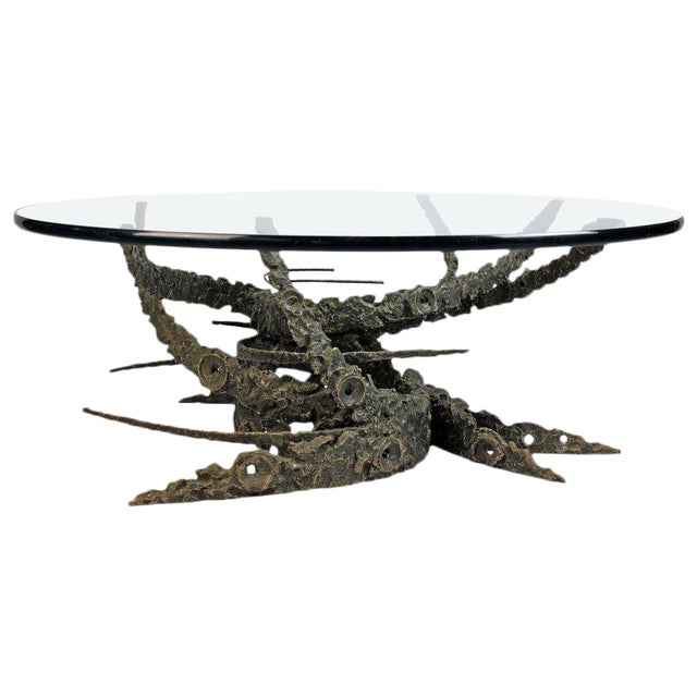 Cast and Welded Sculptural Bronze Round 'Swirl' Coffee Table by Daniel Gluck For Sale