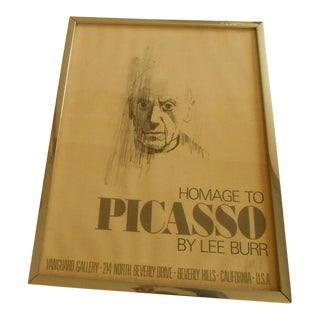 """Mid-Century Modern Lee Burr Signed Poster Print Titled """"Homage to Picasso"""" For Sale"""
