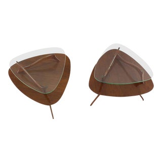 Mid-Century Modern Round Triangular Tri-Legged Two Tier Side Tables - a Pair For Sale