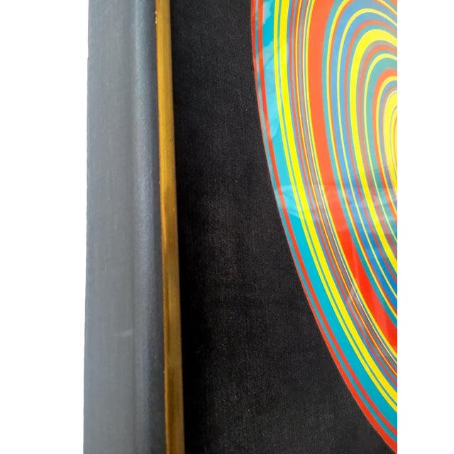 """ Tadasky "" Tadasuke Kuwayama Rare Vintage 1968 Mid Century Modern Framed Op Art Lithograph Print "" Whirling Circles "" For Sale In Kansas City - Image 6 of 13"