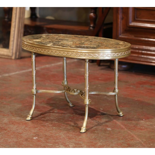 Metal 19th Century French Louis XVI Gilt Bronze Oval Low Table With Marble Top For Sale - Image 7 of 7