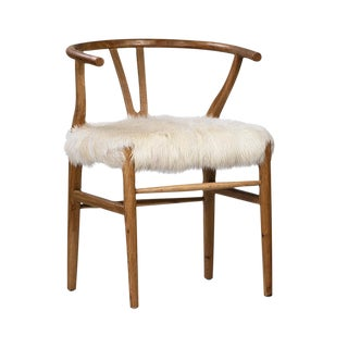 White Fur Oak Chair