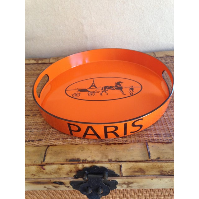 Orange Lacquered Hermes Inspired Bar Tray For Sale - Image 4 of 11