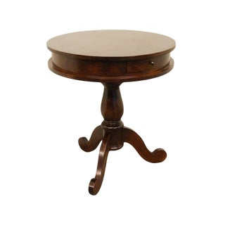 20th Century Traditional Solid Walnut Round Piecrust Accent Table For Sale