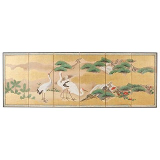 Japanese Six-Panel Kano School Crane Landscape Screen For Sale