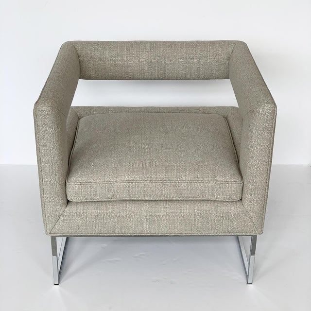 1970s Milo Baughman Open Back Lounge Chairs - a Pair For Sale - Image 5 of 13
